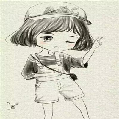 可爱萌萌哒的卡通素描微信女生头像
