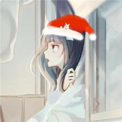 呆萌可爱二次元圣诞帽系列微信情侣头像下载