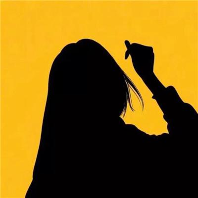 微信个性黄色系剪影女生头像