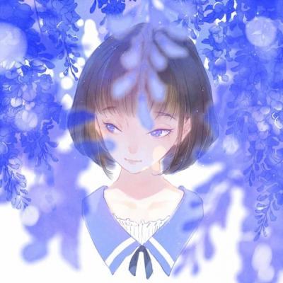 微信唯美蓝色动漫二次元女生头像