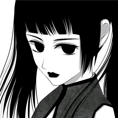 微信黑白丧系二次元女生头像
