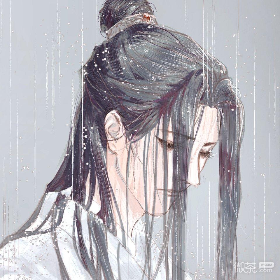 微信流泪二次元男生头像